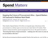 Keeping the Future of Procurement Alive – Spend Matters UK