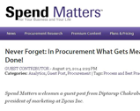 Spend Matters: Never Forget: In Procurement What Gets Measured Gets Done!