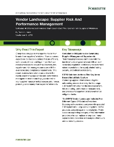 Vendor Landscape: Supplier Risk And Performance Management