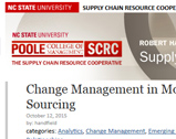 North Carolina State University blog: Change Management in Moving from Tactical to Strategic Sourcing